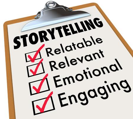 Storytelling Checklist Klembord Hoe Verhalen vertellen 3d illustratie
