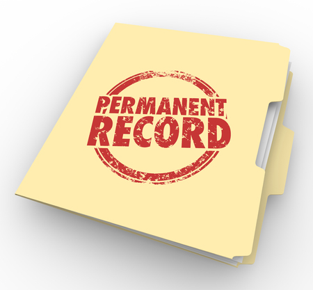 everlasting: Permanent Record File Folder Criminal Background Check 3d Illustration Stock Photo