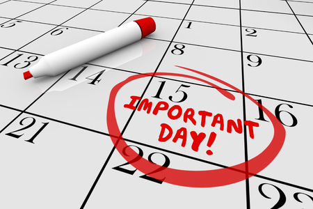 Calendrier de jour important Grande date Circuler 3d Illustration Banque d'images - 81560886
