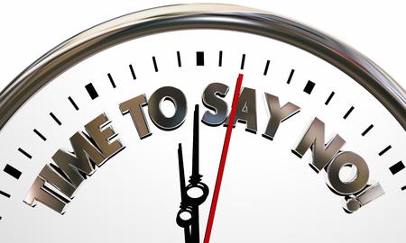 Tiempo para decir No rechazar el reloj Stand Mover el suelo 3d Ilustración Foto de archivo - 81560888