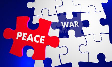 solve: Make Peace Not War Puzzle Fix Solve Problem 3d Illustration Stock Photo