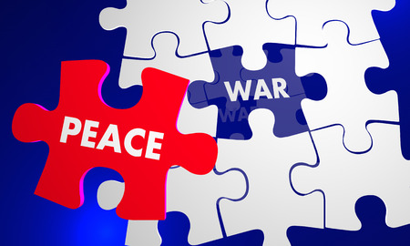 Make Peace Not War Puzzle Fix Solve Problem 3d Illustration Stock Photo