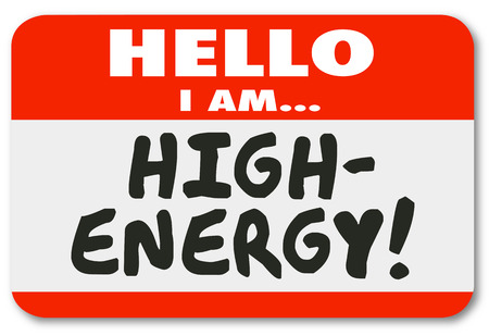 High Energy Name Tag Sticker Hello Energetic Illustration