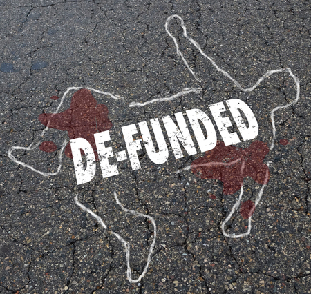 De-Funded Losing Financing Lose Money Chalk Body Outline Illustration