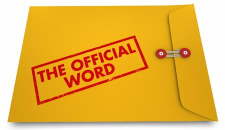 3D-illustratie van de Officiële Woord Antwoord Reactie