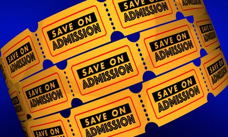 Risparmia sull'illustrazione di prezzi bassi dei biglietti di sconto di ammissione 3d Archivio Fotografico - 81565068
