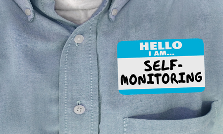 Self-Monitoring Hello Name Tag Sticker 3d Illustration