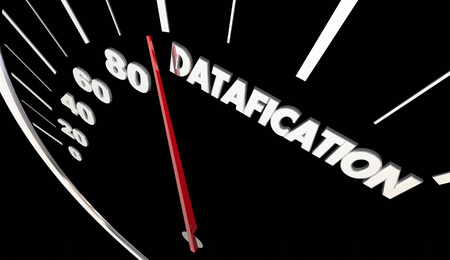 Datafication Speedometer Turn Information into Data Insights 3d Illustration Banco de Imagens
