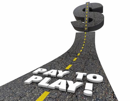Pay to Play Road szavak megvesztegetni visszavágó 3d illusztráció Stock fotó