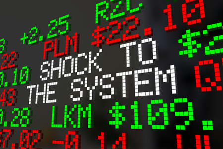 Shock to the System Stock Market Correction Ticker Words 3d Illustration Banco de Imagens