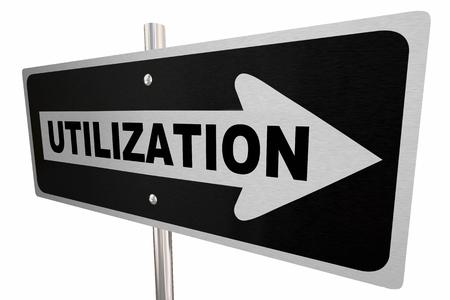 Utilization Word One Way Road Sign Utilize Resources 3d Illustration