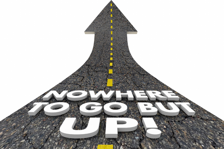nowhere: Nowhere to Go But Up Road Arrow Increase 3d Illustration