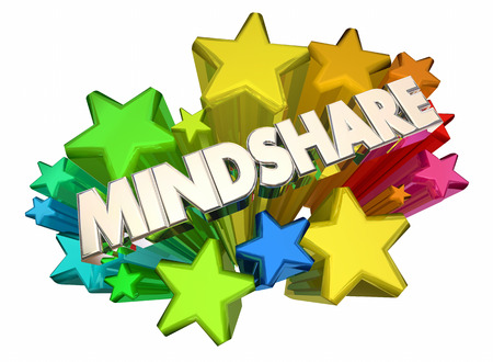 word: Mindshare Awareness Attention Top Popularity Stars 3d Illustration