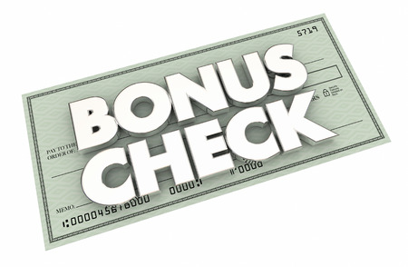 Bonus Check Extra Additional Money Earned Paycheck 3d Illustration Stok Fotoğraf