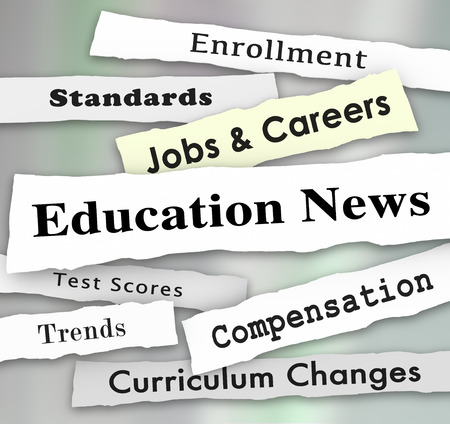 Education News Jobs Teaching Standards Headlines Illustration Banco de Imagens - 81660688