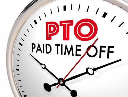 PTO Betaalde Tijd Uit Klok Vakantieuren Laat 3D Illustratie