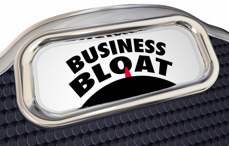 scale: Business Bloat Overstaffed Too Many Projects Scale 3d Illustration Stock Photo