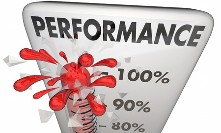 word: Performance Thermometer Measure Results 100 Percent 3d Illustration