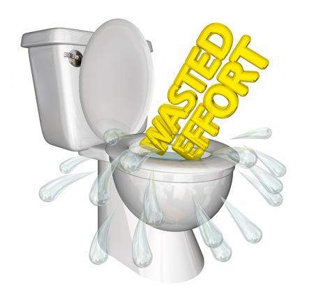 Wasted Effort Words Flushing Down Toilet 3d Illustration