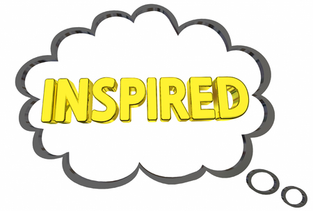 Inspired Motivated Excited Thought Cloud Word 3d Illustration