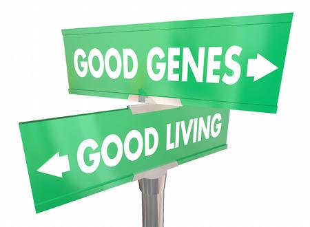 良い遺伝子住街道路標識長寿 3 d イラストレーション
