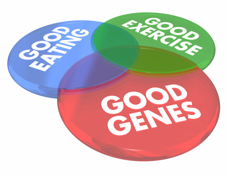 Good Genes Eating Living Long Life Health Venn Diagram 3d Illustration