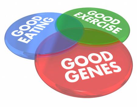 Good Genes Eating Living Long Life Health Venn Diagram 3d Illustration