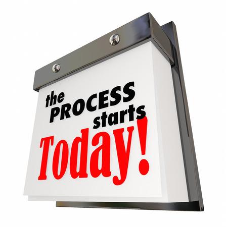 プロセス開始今日カレンダー日日 3 d イラストレーションを開始
