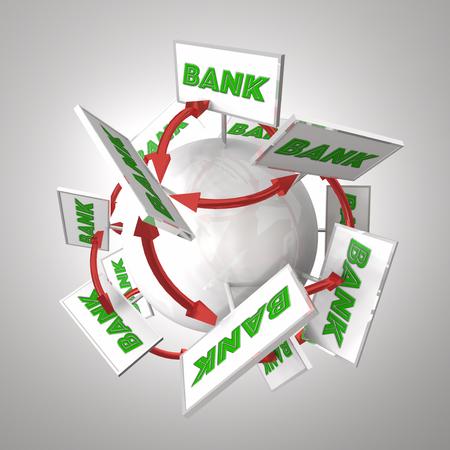 銀行の預貯金金融機関を結ぶ球矢印の周りに看板 3 d イラストレーション