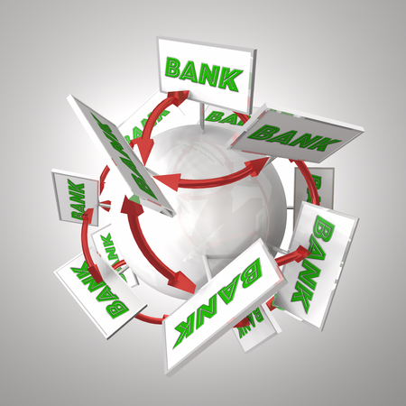 savings account: Bank Signs Around Sphere Arrows Connecting Banking Financial Institutions 3d Illustration