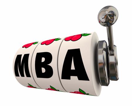 MBA Master Business Administration Slot Machine Weels 3d Illustration