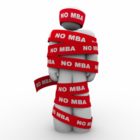 business people: No MBA Man Wrapped in Tape Lack of Masters Holding You Back 3d Illustration