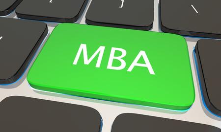 master degree: MBA Master Business Administration Online Degree Computer Key 3d Illustration