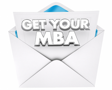 business people: Get Your MBA Master Business Administration Envelope 3d Illustration Stock Photo