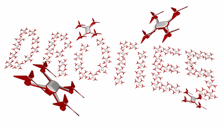 Drones Flying in Formation Making Word Letters 3d Illustration