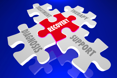 Recovery Diagnosis Treatment Support Therapy Puzzle Pieces 3d Illustration