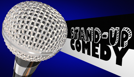 joking: Stand-Up Comedy Microphone Comedian Open Mic Performance 3d Illustration Stock Photo