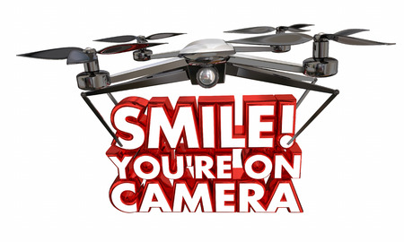 technology: Smile Youre On Camera Drone Spying Video 3d Illustration