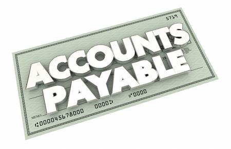 accounts payable: Accounts Payable Payment Check Words Money 3d Illustration