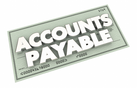 Accounts Payable Payment Check Words Money 3d Illustration