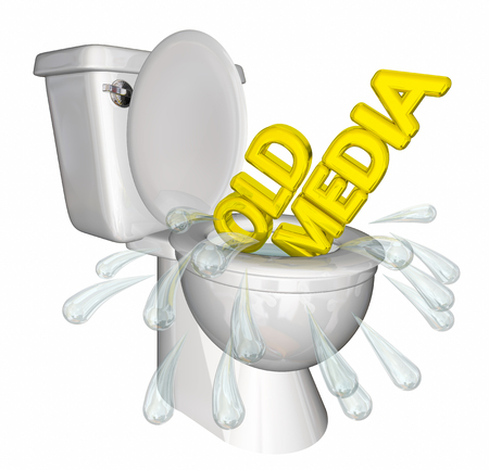 Old Media Traditional Outlets Flush Down Toilet 3d Illustration Stock Photo