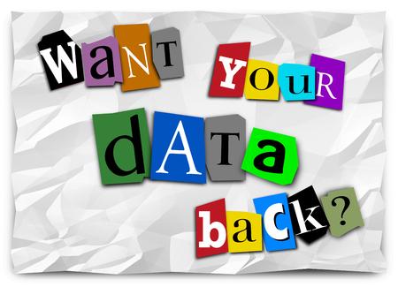 Willst du deine Daten zurück Lösegeld Hinweis Hacked Ransomware 3d Illustration Standard-Bild - 82439725