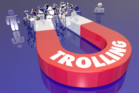 word: Trolling Attract Audience Upset Angry Comments Magnet 3d Illustration