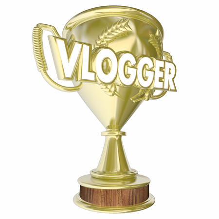 Vlogger Trophy Award Prize Video Blogging 3d Illustration Reklamní fotografie - 82528000