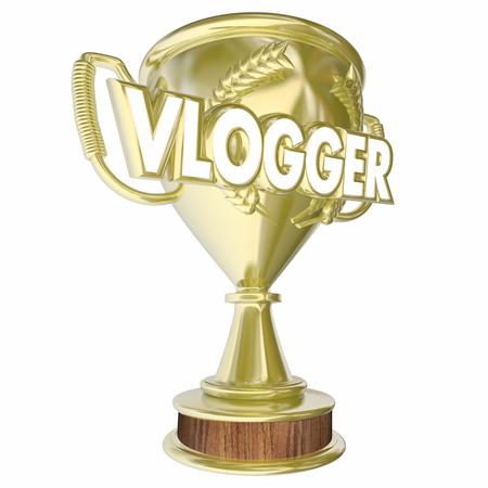 Vlogger Trophy Award Prize Video Blogging 3d Illustration Reklamní fotografie