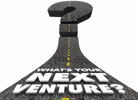 Was ist Ihre nächste Venture Road Fragezeichen 3D Illustration Standard-Bild - 82528003