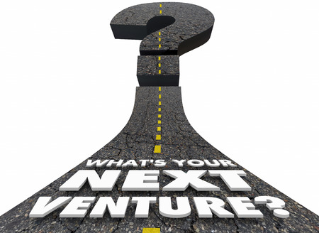 business people: Whats Your Next Venture Road Question Mark 3d Illustration