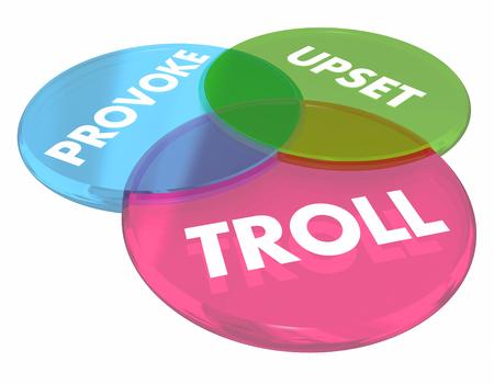 Troll Provoke Upset Venn Diagram Internet Comments 3d Illustration Stock Illustration - 82528004