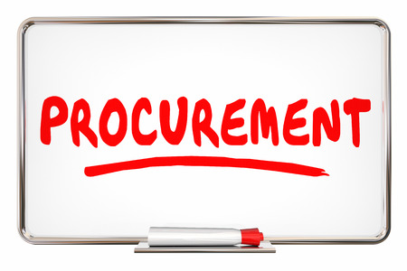 Procurement Process Purchasing System Word on Board 3d Illustration Stock Photo