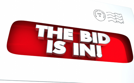 The Bid is In Envelope Contract Purchasing 3d Illustration